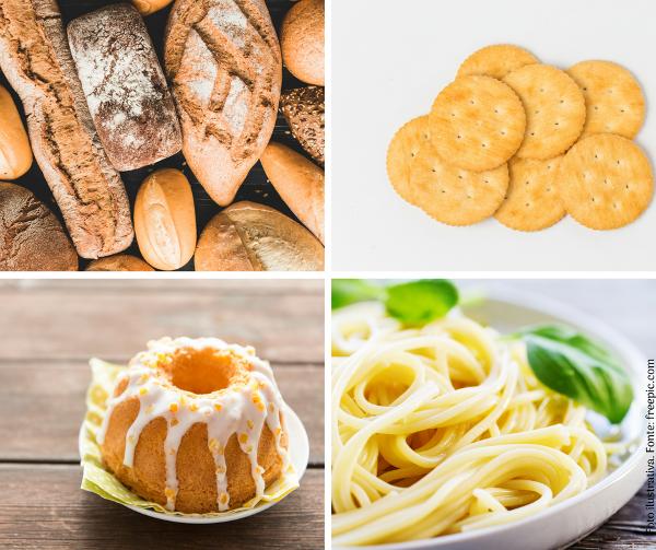 Glúten, saiba mais sobre este nutriente - Mix de alimentos com glúten